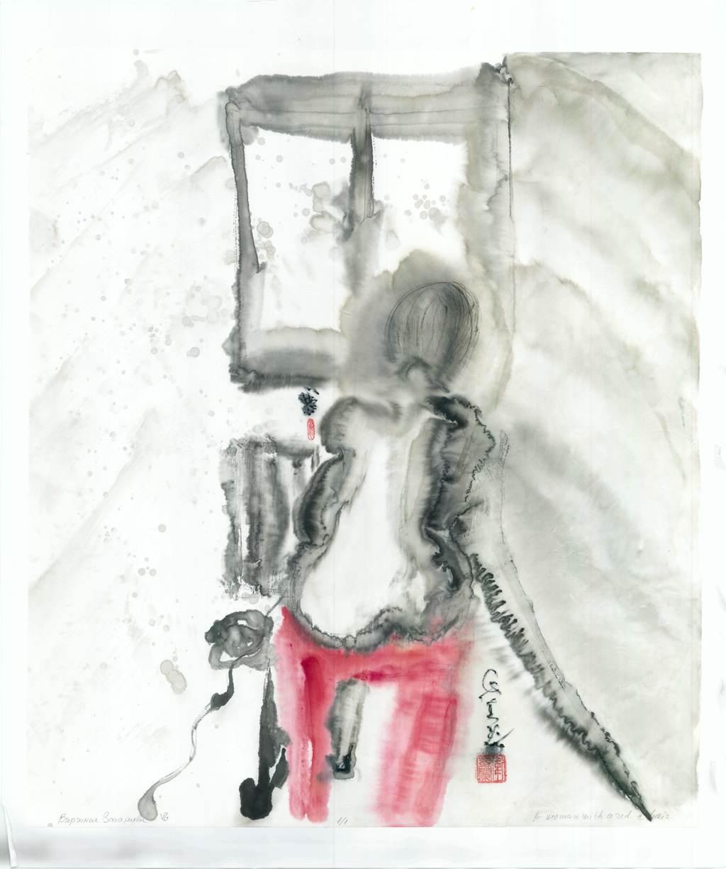 Жена на червен стол
